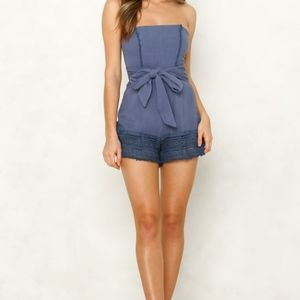 Tube Romper with Tie in Front